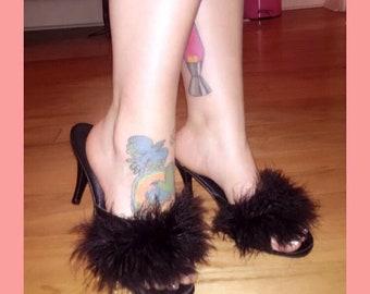 60s slippers black marabou Boudoir heels old Hollywood glamour