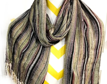 striped scarf,shimmer,cotton scarf,wrap around,Tan modern scarf,Women's Accessory,Men's scarf,stole,rebozo, Gift