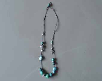 teal and silver long beaded necklace - waxed cotton necklace - boho aqua mixed beads necklace - gift for her - mothersday gift