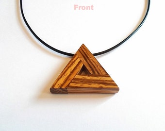 African Zebrawood, Delta Triangle Pendant with Cord