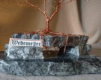 Business Card Holder: Copper on Black & White Granite