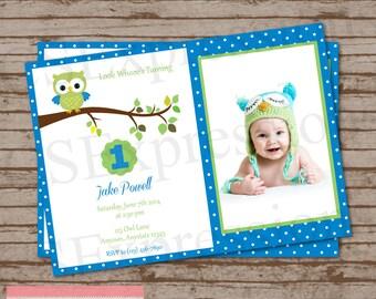 Blue Polka Dot Owl Photo Birthday Invitation