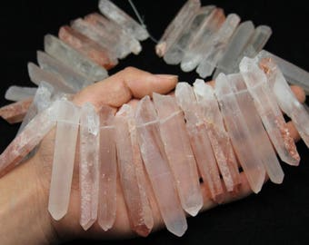 Only 1 Strand,Top Drilled Long Quartz Points,Natural Quartz Crystal Stick Point,Peach Quartz Raw Crystals Tusk Spike Loose Beads Supplies