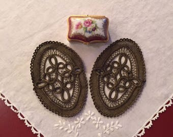 Metal Lace Embroidered French Appliques Set of 2
