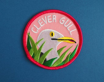 Clever Gull Patch, Clever Girl Iron On Patch, Jurassic Park Patch, Dinosaur Patch, Seagull Patch, Funny Pun Patch, Raptor Patch Embroidered