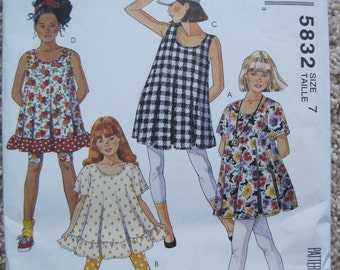 UNCUT Girls and Chubbies Tunics and Leggings - Size 7 - McCalls Pattern 5832 - Vintage 1992