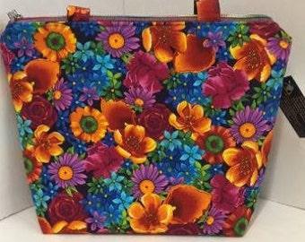 Spring Floral Zipper Tote