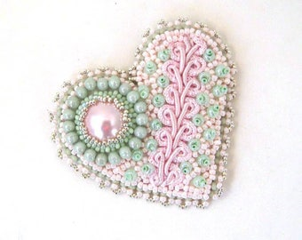 Heart brooch, Bead embroidered brooch, Beaded brooch, Gift for women, Mint Green and pink heart, Handmade gift