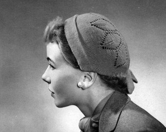 Women's Vintage Leaf Motif Cap Pattern PDF Instant download / Vintage Knitted Hat Pattern / Leaf Motif Knitted Hat / Vintage hat pattern