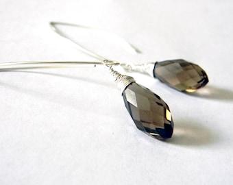 Smoky Quartz  Crystal Drop Earrings Long V Wire Earrings