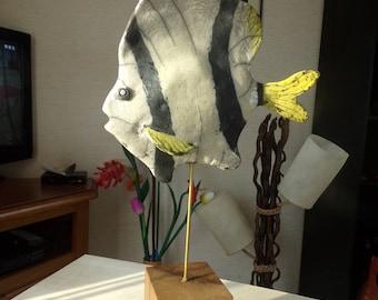 RAKU .ceramic fish.