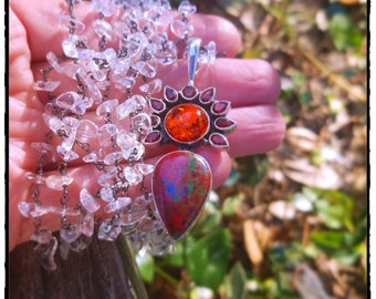 Sonora Sunrise Goddess, Amber, Garnet Sterling Long Necklace w/Oxidized Crystal Nugget Chain, Boho Goddess, Beach Surf