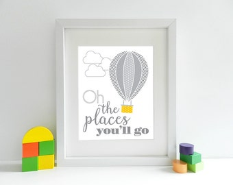 Oh The Places You'll Go - Hot Air Balloon - Nursery - 8x10 inch print