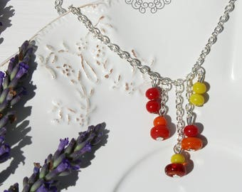 Necklace red orange and yellow beads - Once Upon a Fantasy