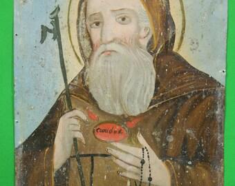 Antique 1800s St. Francis of Paola Mexican Tin Retablo