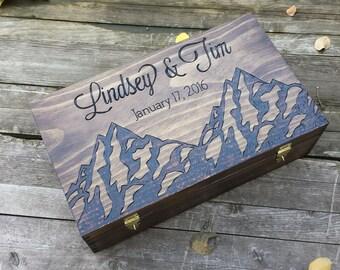 Rustic Wedding wine box, mountain wine box, Custom Double Wine Box, First Fight Box, Card box, Memory Box, anniversary gift, wedding gift