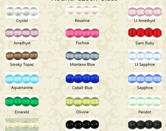 Czech Glass 3mm Round Druk Beads 100 beads per pkg in 18 colors to choose from Emerald, Jet, Crystal, Siam, Amethyst, Aqua, Peridot & more