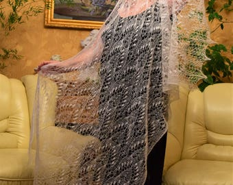 Wedding white lace stole knitted in mohair on silk