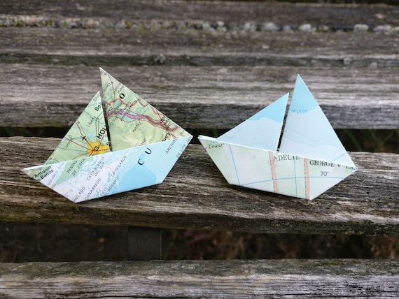 Sailboat Map Boutonnieres. Any Amount. Custom Orders Welcome. Wedding, Prom, Groomsmen, Groom. Origami