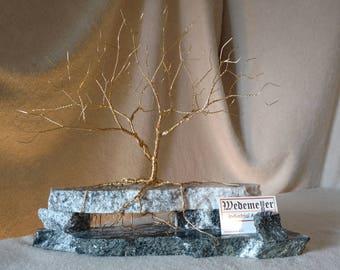 Business Card Holder: Brass on Black & White Granite