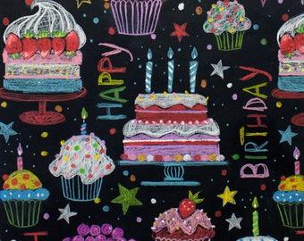 11.50 yrd - Alexander Henry - Cotton Poplin - Happy Birthday - Black