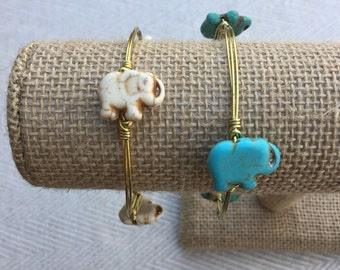 Elephant Bead Wire-Wrapped Bangle Bracelet