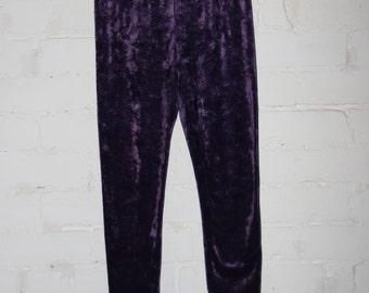 Purple Velvet Leggings. Size Medium.Crushed Purple Velvet.Womens Velvet Leggins