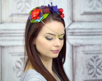 Floral Crown Diadem, Woodland Circlet, Flower Crown, Fairy Crown, Elven Headdress, Costume Headpiece, Purple and Red Flowercrown, Headband
