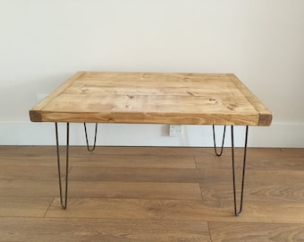Rustic Pine Chunky Coffee Table Metal Hairpin Legs