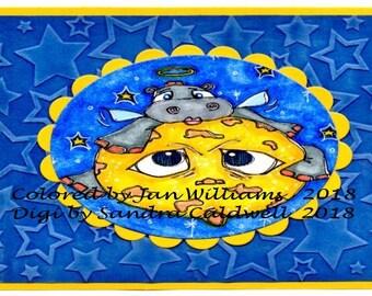 2298 Moon  Hippo Digi Stamp