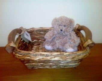 Rectangular Wicker Willow Storage Display Basket Wooden Handles
