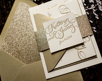 Gold Glitter Letterpress Wedding Invitation, Calligraphy Invitation, Gold Glitter Wedding Invite - Deposit to Get Started