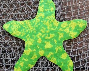 Metal Wall Art Starfish Sculpture - Recycled Metal Ocean Theme Marine Beach House Coastal Decor Lime green Indoor Outdoor   11x11