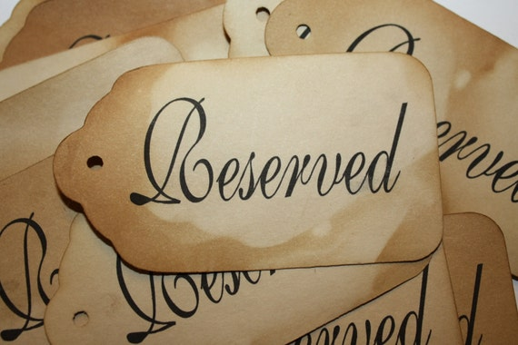 Tea Stained Tags Luggage Style Card stock  2 3/4 x 4 7/8 with the word RESERVED printed
