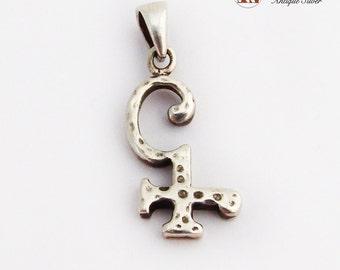 Figural Symbol Pendant Hammered Sterling Silver