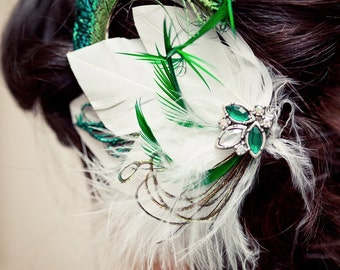 White and Emerald Green Feather Hair Clip Fascinator