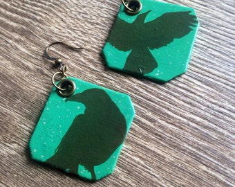 Green Crow Silhouette - Hand-Painted Disc bird earrings