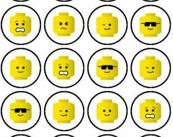"Lego head  cupcake toppers PRE CUT  30 × 1.5"""
