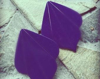Vintage Purple Fan Styled Metal Stud Earring Set