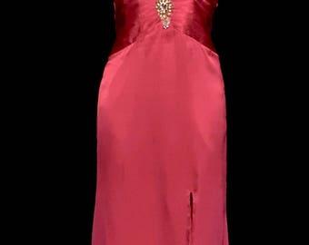 Dark Hot Pink Satin Halter Gown         VG268
