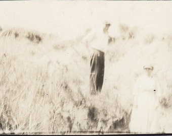 vintage photo Couple Blending into Blur Hillside Abstract Unusual