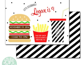 Hamburger and Fries Invitation, Burger and Fries Invitation   Hamburger Invitation   Fries Invitation- 5x7 with reverse side