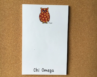 Chi Omega Owl Officially Licensed Notepad