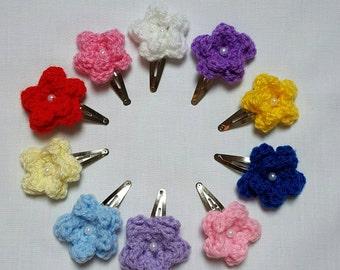 Crochet hair clips, crochet flower hair clips, colourful hair clips, girls hair accessories, back to school, crochet snap clips, UK seller