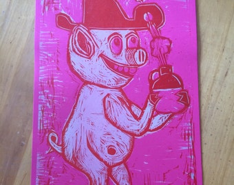 This Is Hit MOONSHINE PIG - Hand Printed Letterpress Poster
