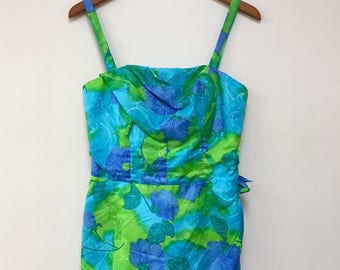 Paradise Hawaii vintage 1960's blue green SWIMSUIT ROMPER