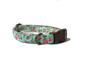 The Sutton - Shabby Chic Seafoam Green Pink Coral Purple Flowers Organic Cotton CAT Collar Breakaway Safety - All Antique Metal Hardware