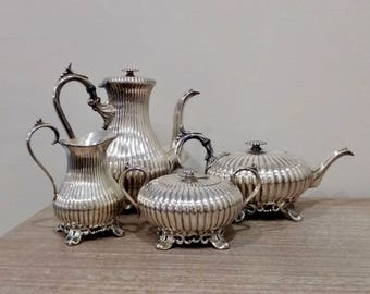 Antique James Dixon and Sons silver plate tea set, Sheffield tea set, James Dixon teapot, 2 teapots, sugar and creamer, Sheffield England