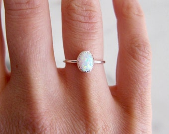 Opal ring. Silver ring band. Gemstone ring. White opal ring.