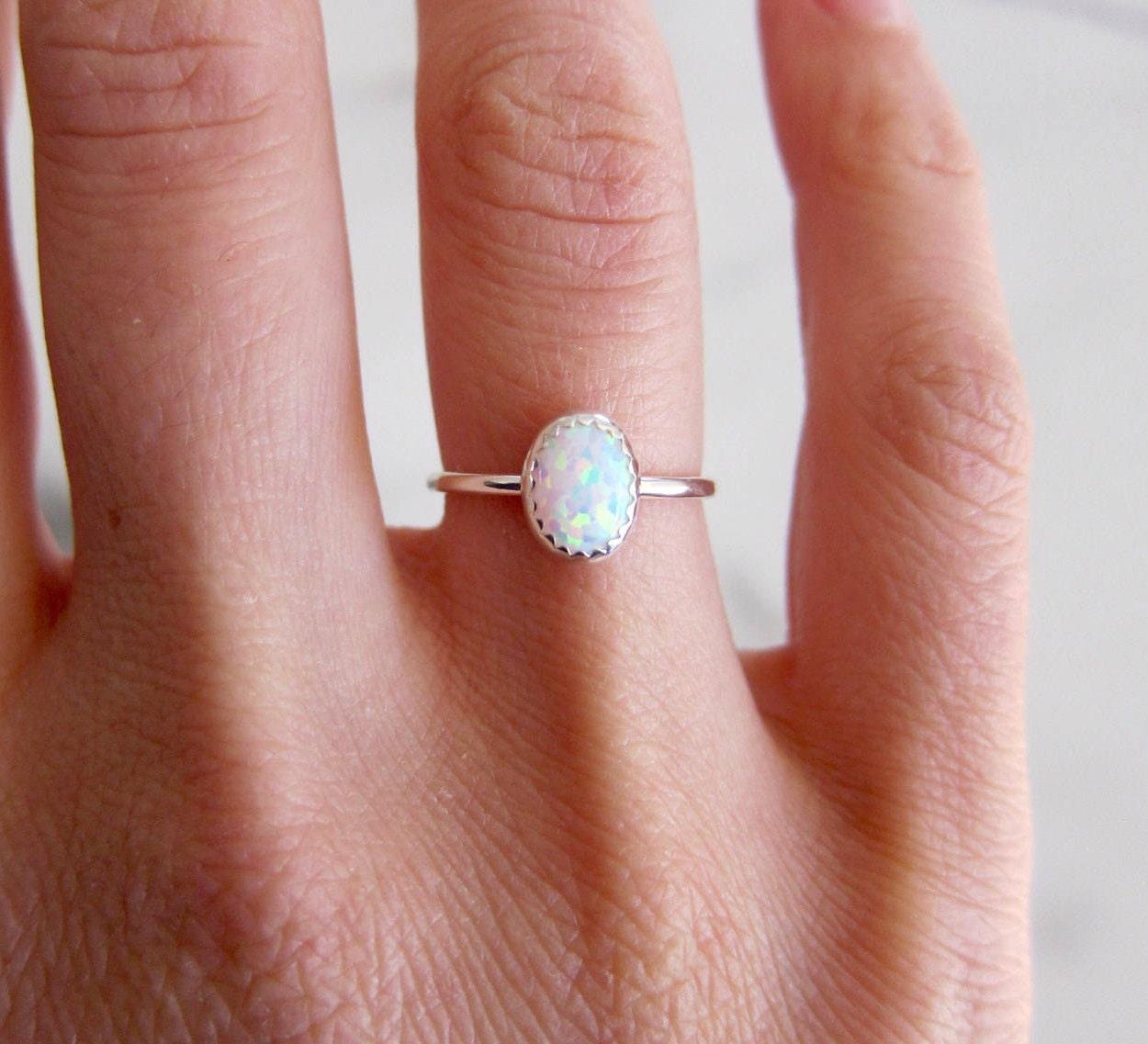 Opal ring. Silver ring band. Gemstone ring. White opal ring.